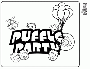 puffles coloring pages - club penguin white puffle arhsj club penguin cheats l